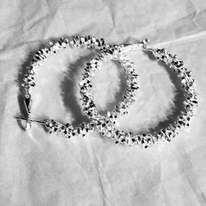 NWT, Silver tone and crystal hoop earrings